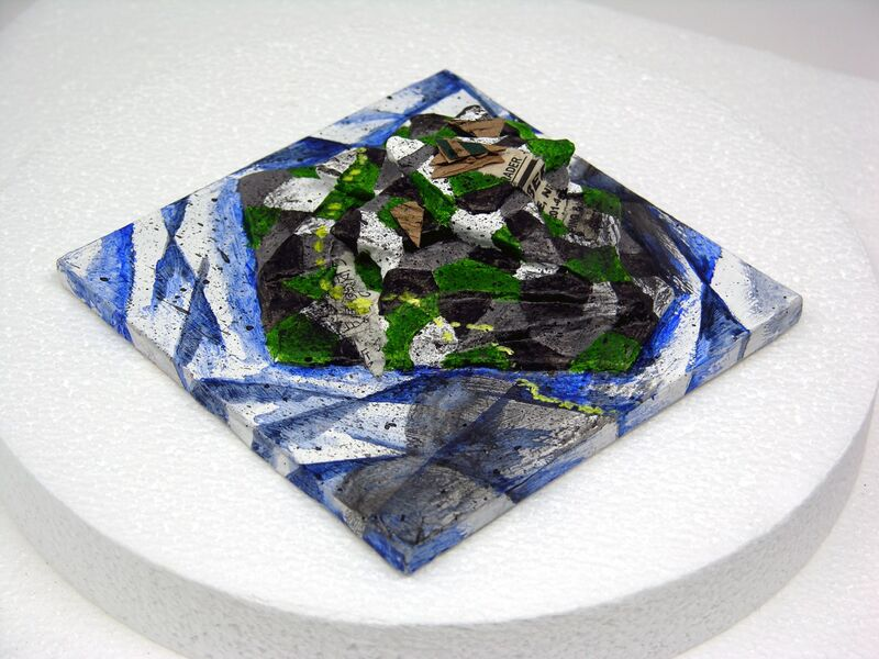 Yukio Kevin Iraha's papermache abstract art depicting islands