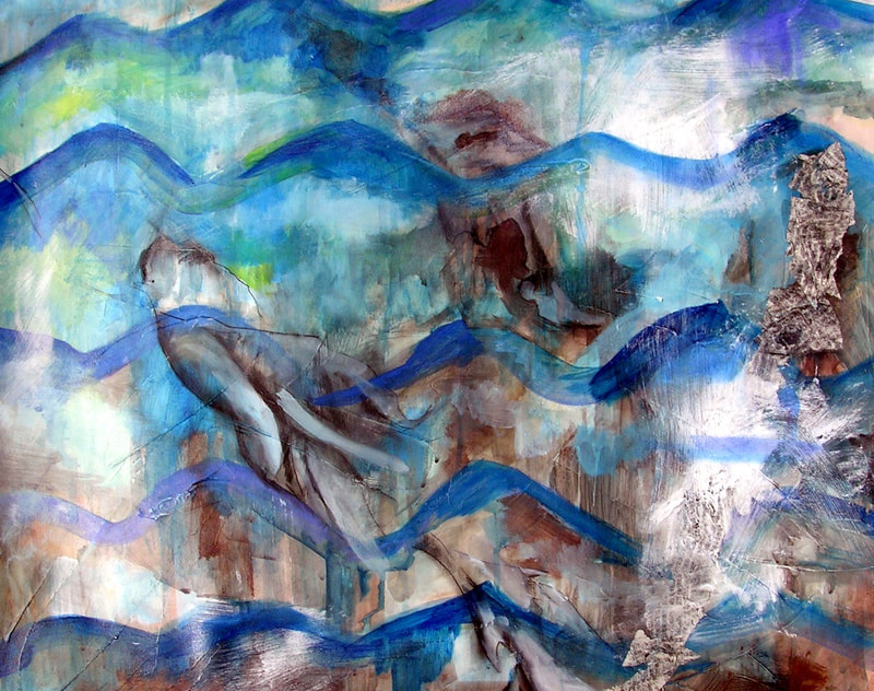artist yukio kevin iraha's abstract painting about a river. Series of color overlays along with collage, pastel, graphite, charcoal done on paper.