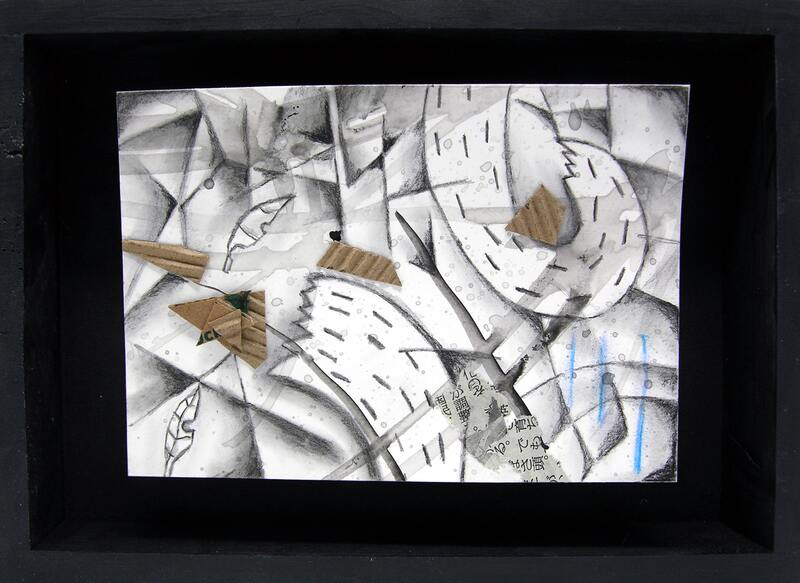 Yukio Kevin Iraha's abstract mixed media image of river with series of collaged materials.